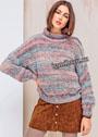 Объемный радужный свитер с ажурным узором. Спицы