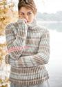 Теплый классический свитер в полоску. Спицы