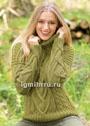 Теплый свитер цвета мха с крупными косами. Спицы
