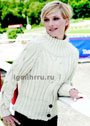Белый теплый свитер с широкими косами. Спицы