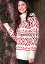 Красно-белый свитер с графическим узором. Спицы
