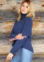 Синий шерстяной свитер с закругленным нижним краем. Спицы