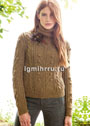 Коричневый меланжевый свитер с миксом узоров. Спицы