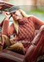 Меланжевый мохеровый свитер с крупными переплетениями. Спицы