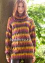 Разноцветный свитер с крупным узором из кос. Спицы