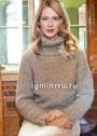 Теплый бежевый свитер с большим воротником. Спицы