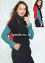 Укороченный трехцветный свитер. Спицы