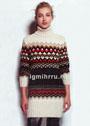 Удлиненный шерстяной свитер-туника с жаккардовыми узорами. Спицы