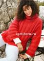 Пушистый мохеровый свитер красного цвета. Спицы