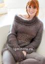 Розовато-коричневый теплый свитер с полупатентным узором и косами. Спицы
