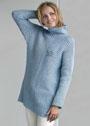 Голубой свитер с асимметричным ребристым узором. Спицы