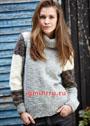 Светло-серый свитер с цветовыми блоками на рукавах. Спицы