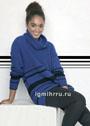 Синий свитер с черными полосками. Спицы