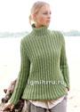 Зеленый свитер из ложного патентного узора. Спицы