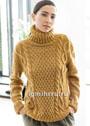 Желто-коричневый свитер с косами. Спицы