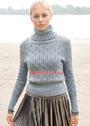 Серо-голубой свитер с ажурным узором. Спицы