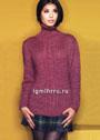 Бордовый свитер с центральной вставкой из кос. Спицы