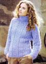 Сиреневый свитер с ажурным узором. Спицы