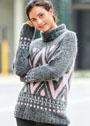 Серый свитер с жаккардовыми узорами. Спицы