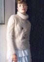 Пушистый теплый свитер с диагональными полосами. Спицы