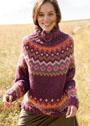 Жаккардовый свитер с зигзагами и ромбами. Спицы