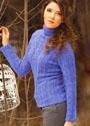 Сиреневый свитер с рельефным узором. Спицы