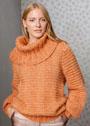 Оранжевый свитер с большим воротником. Спицы