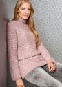 Розовый теплый свитер, связанный на толстых спицах. Спицы