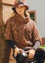 Меланжевый свитер с короткими рукавами и объемным воротником. Спицы