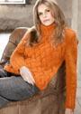 Оранжевый свитер с плетеным узором. Спицы
