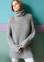 Удлиненный свитер-кимоно со звездочками. Спицы