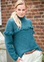 Мохеровый свитер с ажурной кокеткой, отделанной рюшами. Спицы