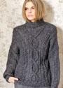 Теплый меланжевый свитер с косами и ромбами. Спицы
