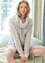 Меланжевый ажурный свитер с объемным воротником. Спицы