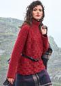 Рельефный красный свитер с высоким воротником. Спицы