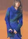 Длинный свитер с широким воротником. Спицы