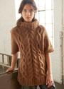 Коричневый теплый свитер с косами и ромбами. Спицы