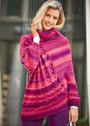 Асимметричный свитер-пончо с рельефными узорами. Спицы