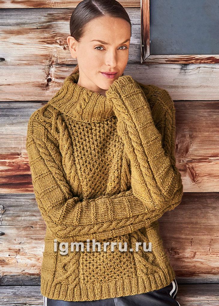 72dcbaa91b8 Шерстяной свитер с сочетанием узоров. Вязание спицами
