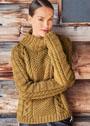 Шерстяной свитер с сочетанием узоров. Спицы