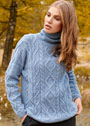 Голубой теплый свитер с косами и ромбами. Спицы