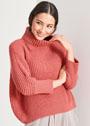 Красный свитер из полупатентного узора. Спицы