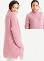 Длинный розовый свитер из полупатентного узора. Спицы