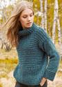 Бирюзовый свитер с полупатентным и поперечным узорами. Спицы