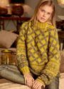Желтый свитер с жаккардовыми узорами. Спицы