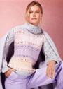 Полосатый свитер с ажурными рукавами. Спицы