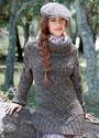 Удлиненный меланжевый свитер с аранами. Спицы