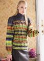 Разноцветный свитер с фантазийными косами. Спицы