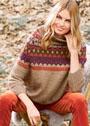 Свободный свитер с широкой жаккардовой кокеткой. Спицы