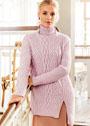 Розовый свитер с аранами, косами и резинкой. Спицы